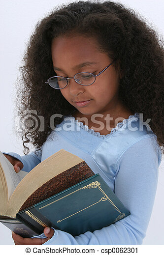 Girl Child Reading - csp0062301