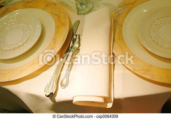 Stock Photographs of place setting - a beautiful place setting for a sumptuous...