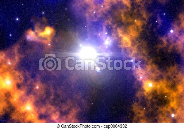 Clip Art of Stardust - A cosmic Nebula with a Neutron Star / Nova ...