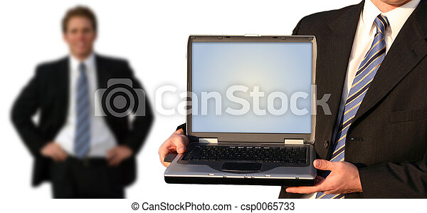 Stock Photos of Business team - Business man holding up his laptop