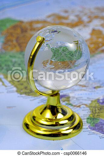 Glass Globe on a Map