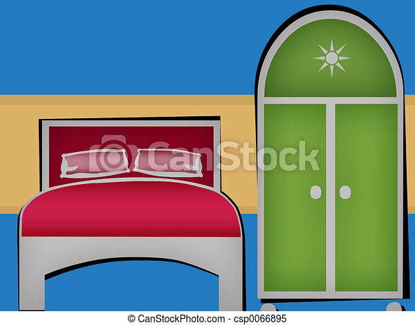 Stock Illustrations of Bed Room - Bedroom Clipart csp0066895 - Search ...