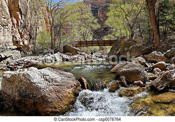 crossing the creek - csp0076764