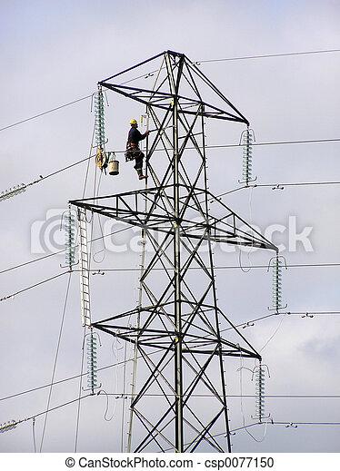Power lineman climbing electricity pylon