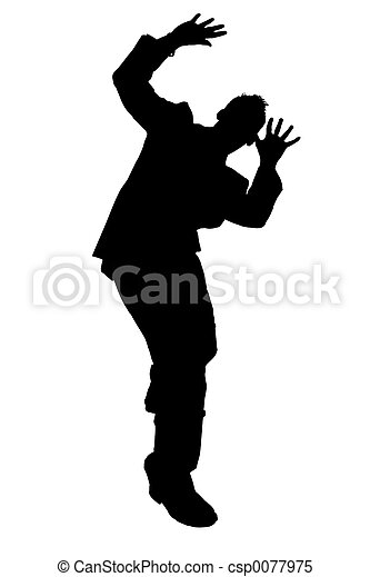 Silhouette Cowering Business Man With