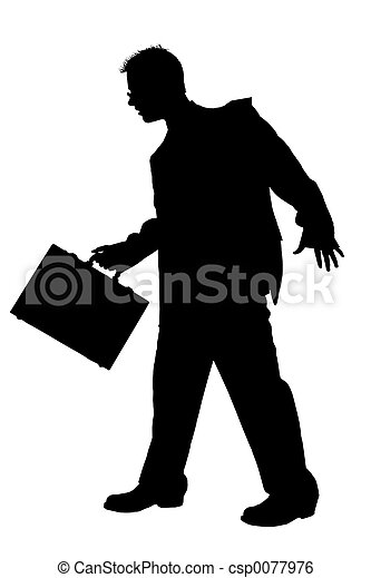 . Business Man walking with briefcase.  Black over white. - csp0077976