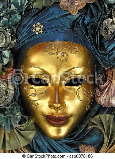dourado, máscara - csp0078186