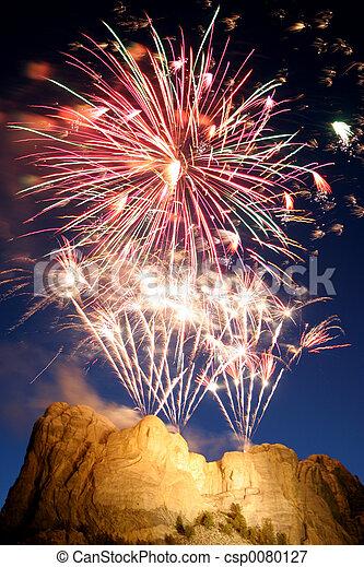 Mt Rushmore firewor - csp0080127