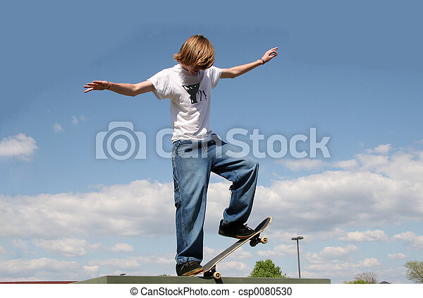 Skateboarder in Clouds - csp0080530