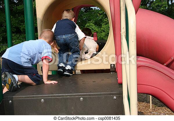 Kids Taking Turns - csp0081435