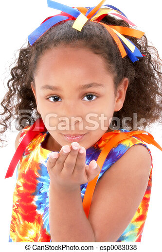 menina, criança, beijo - csp0083038