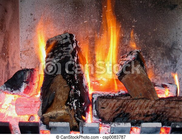 Fireplace burning - csp0083787