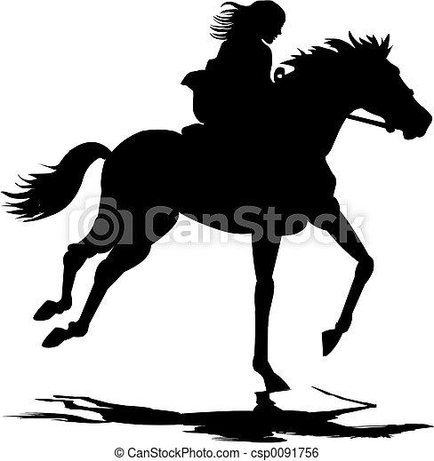 Girl riding horse - csp0091756