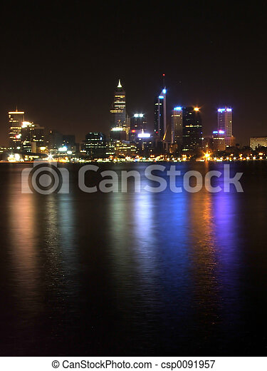 Perth city at night - csp0091957