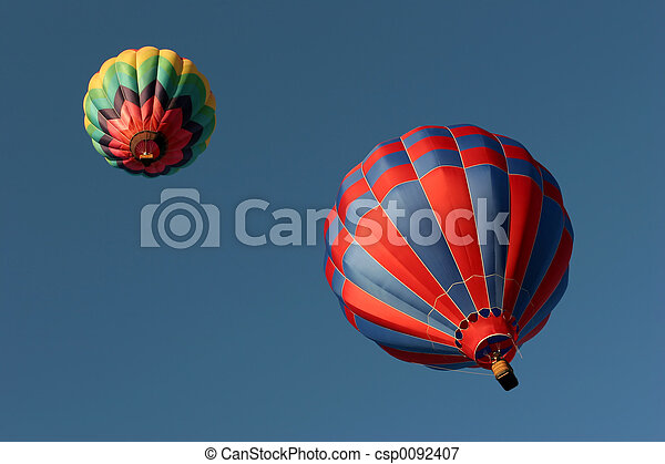 two hot air balloons from below - csp0092407