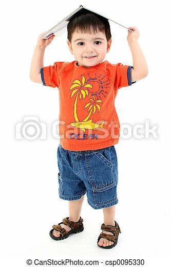 Child Boy Book Silly - csp0095330