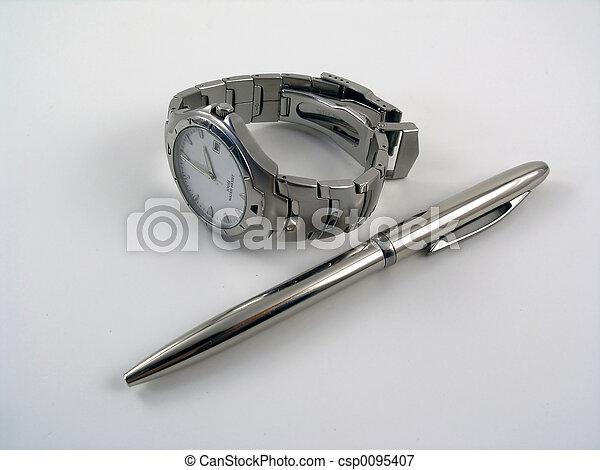 鋼筆, 球, 觀看, 銀, 事務 - csp0095407