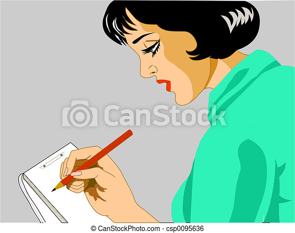秘書, 執筆 - csp0095636 イラスト, 女性, 秘書, 執筆, メモお気に入りに追加