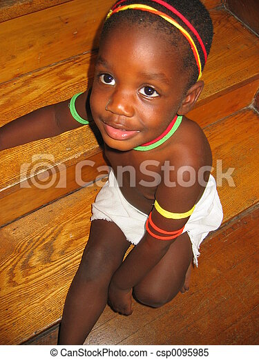 Stock Images of African child - Small, decorated African child ...