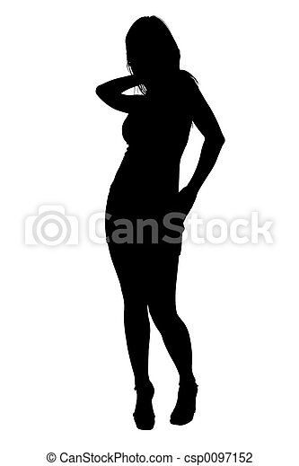 Silhouette With of Female Fashion Model