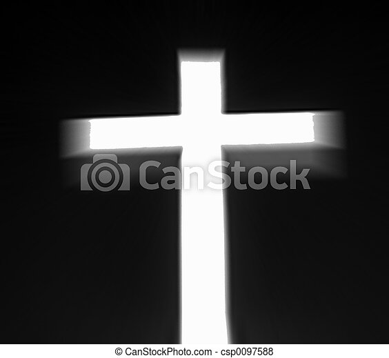 White Cross with Black Background