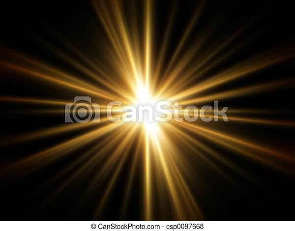 raios, de, dourado, luz - csp0097668
