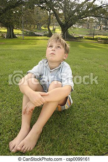 Sitting in an urban park - csp0099161