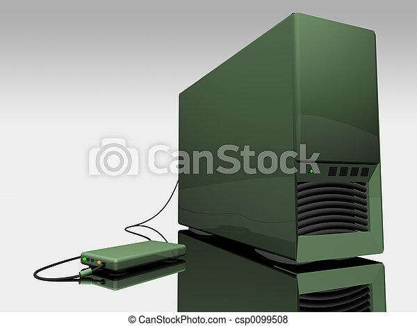 Green computer tower - csp0099508