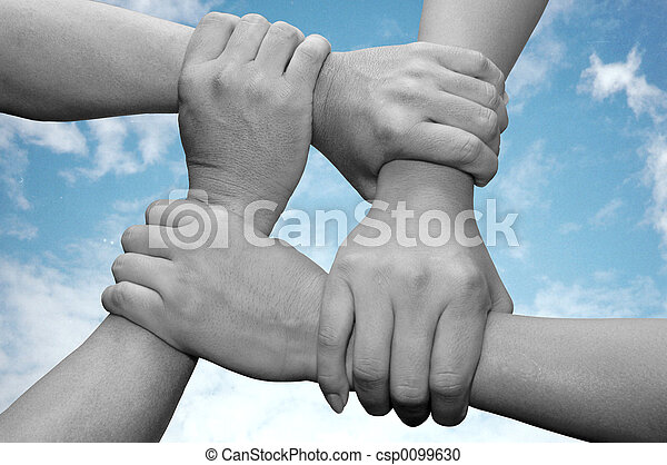 business team work with hands