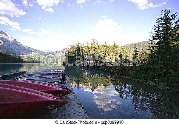 onmountain, lago, barca - csp0099910