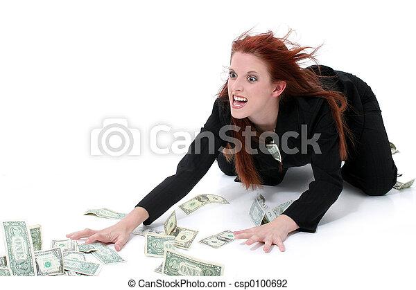 錢, 婦女, 事務 - csp0100692