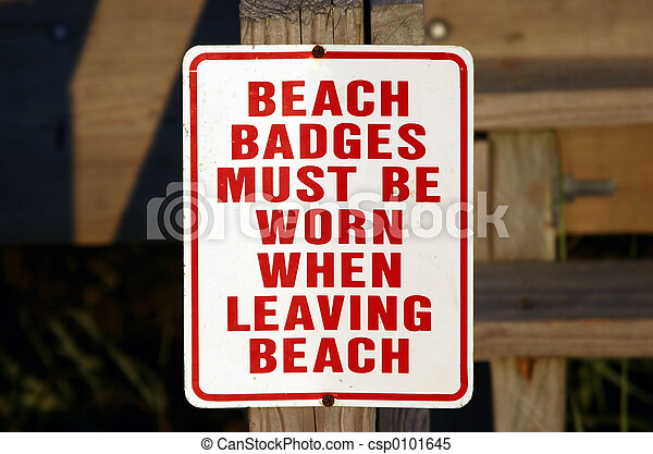 Weathered Beach Badge Sign - csp0101645