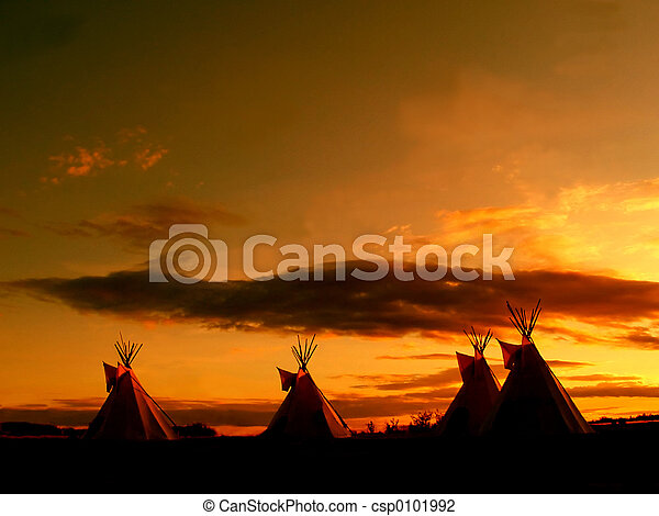 groß,  teepee, Sonnenuntergang - csp0101992