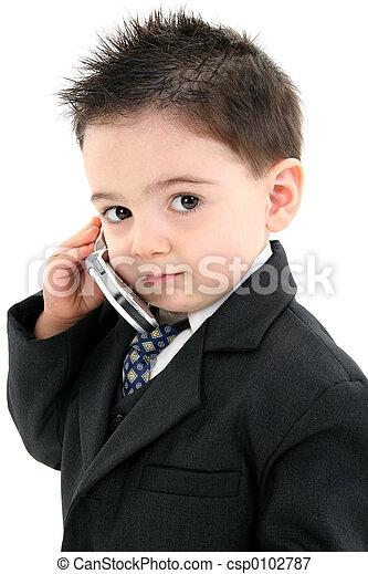 男の子の 子供, 携帯電話 - csp0102787