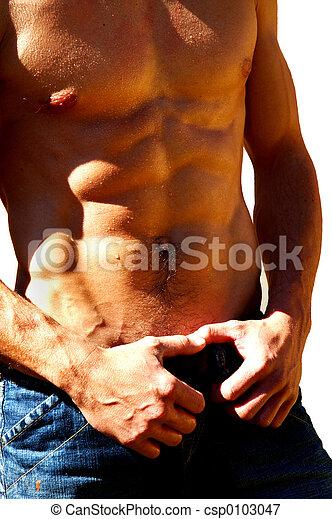 rippling male torso - csp0103047