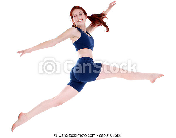 Beautiful Teenage Girl in Workout Clothes Leaping - csp0103588