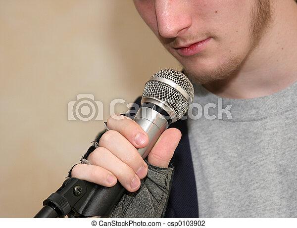 Holding Microphone - csp0103902
