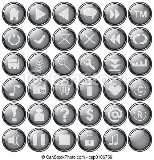 grey web buttons - csp0106759