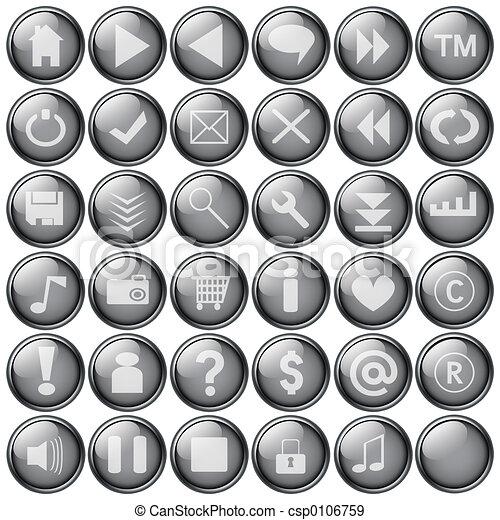 grey web buttons - csp0106759