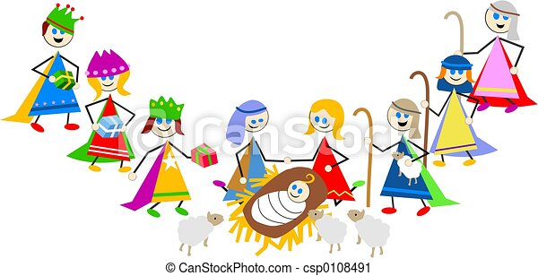 nativity kids - csp0108491