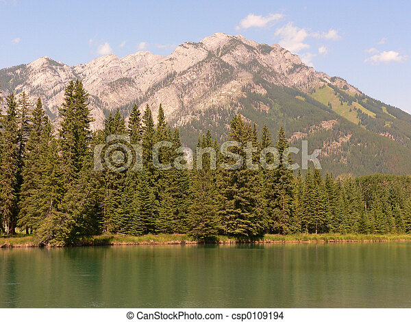 Banff Mountain and River - csp0109194