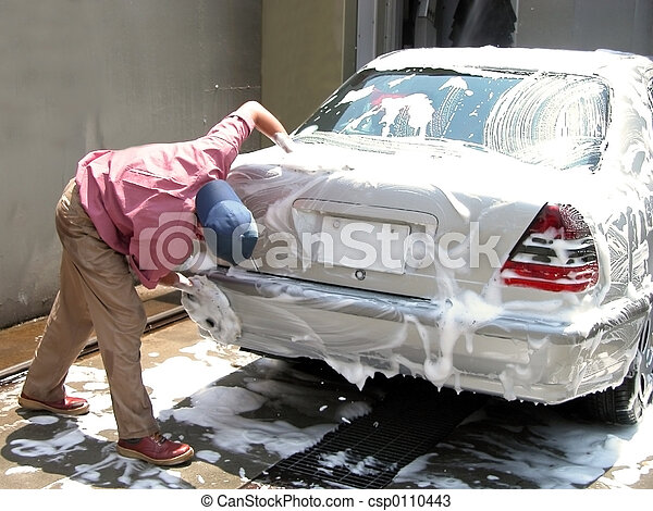 Man cleaning the car - csp0110443