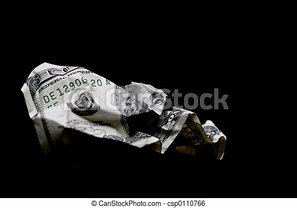 crumpled hundred dollar bill - csp0110766