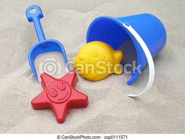 Areia, brinquedos - csp0111571