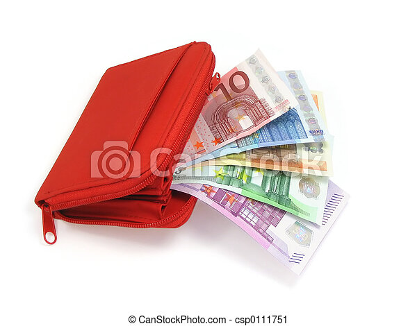 Euro notes and wallet - csp0111751