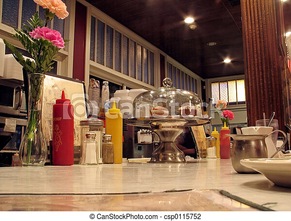 This is a shot of the countertop at an old fashioned local diner.