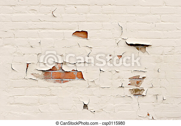 peeling paint over brick wall - csp0115980