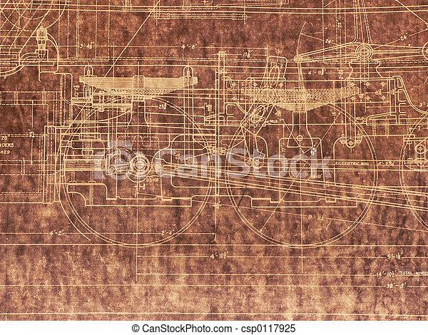 Old Locomotive Blueprint - csp0117925