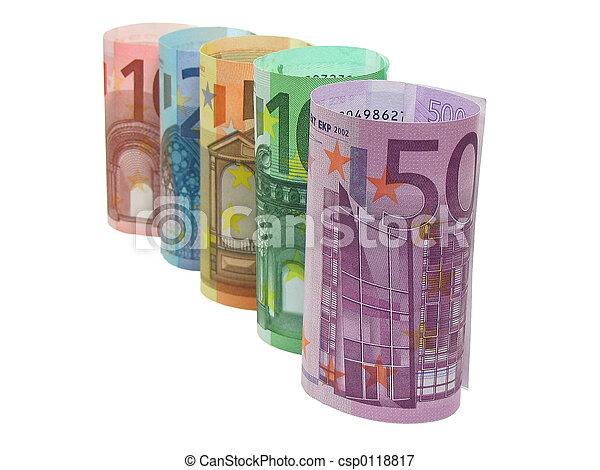 Euro notes in a row - csp0118817