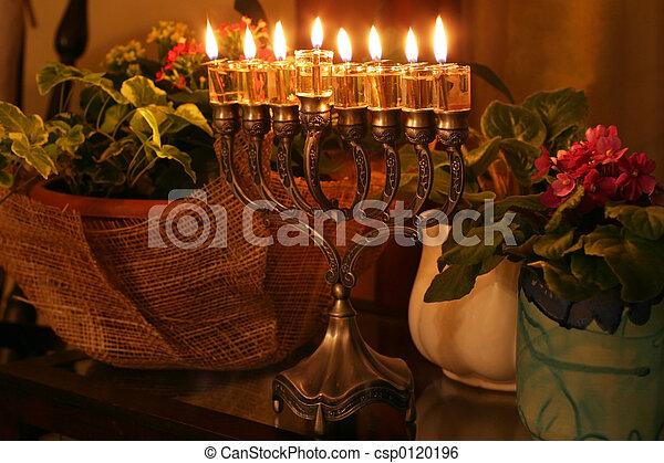 Menorah,  Hanukkah - csp0120196